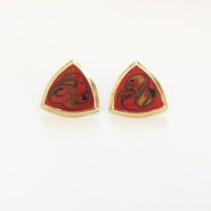 Vintage Gold & Red Triangle Shape Earrings